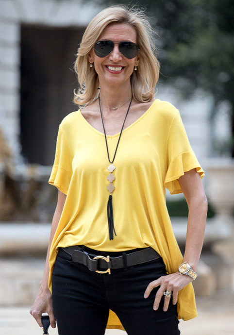 yellow rayon jersey top with lace detail