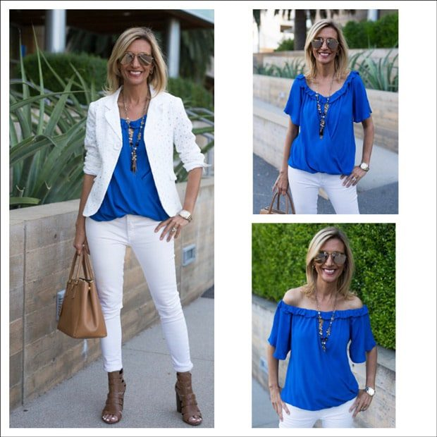 jacket-society-white-eyelet-jacket-over-royal-blue-off-shoulder-top---feat